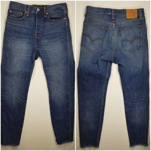 Levis High Rise Button Fly Slim Leg Fray Hem Jeans